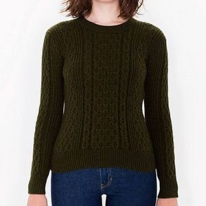 American Apparel ✨Rare✨ Green Cable Knit Sweater